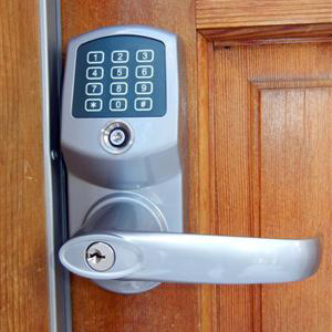 Closeup of Weatherproof Keyless Entry Installed on Cabin Door